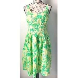 Lilly Pulitzer Green Floral Butterfly Pocket Dress